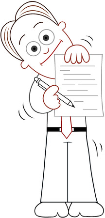 Cartoon businessman standing, smiling and showing contract. Vector
