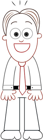 Cartoon businessman standing and laughing. Vector