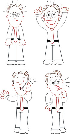 Funny cartoon businessman set. Vector