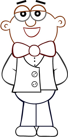 Cartoon of a waiter standing and smiling. Vector