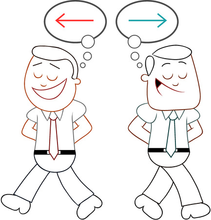 Two cartoon businessmen walking apart with different ideas. Vector