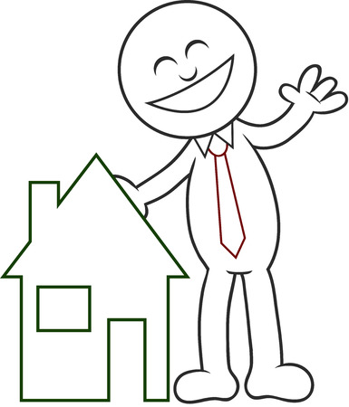 Cartoon man with a house, happy and laughing. Stock Vector - 22296936