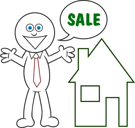 Cartoon man smiling and saying sale for a house. Stock Vector - 22296944