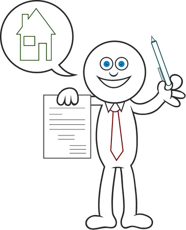 Cartoon man showing a contract for a house. Stock Vector - 22296940