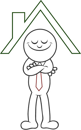 Cartoon man standing happily under the roof of a house. Stock Vector - 22296943