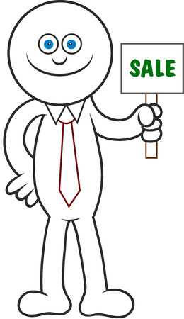 Cartoon man smiling and holding a sale signboard. Stock Vector - 22296946