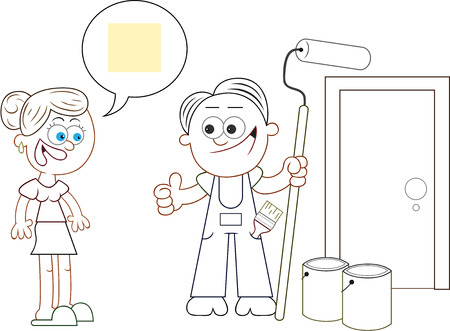 Cartoon painter man and woman agreeing on paint color for house. Vector