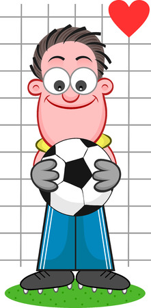Soccer cartoon. Cartoon of funny goalkeeper holding ball and smiling with heart symbol. Vector