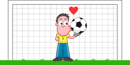 Soccer cartoon. Cartoon of funny goalkeeper kissing ball with heart symbol. Vector