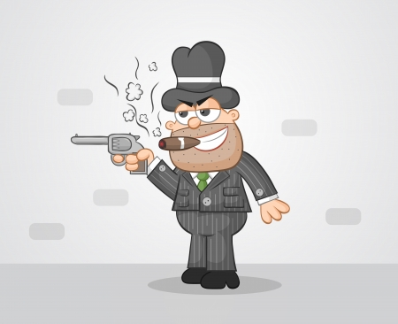 Cartoon mafia boss aiming a gun and smoking cigar. Vector