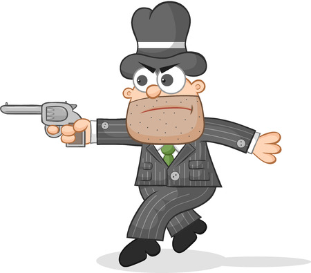 Cartoon mafia boss tiptoeing aiming a gun. Vector