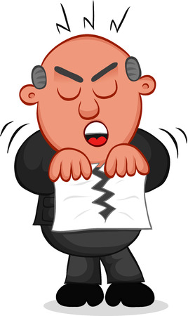 Cartoon boss man tearing a piece of paper. Vector
