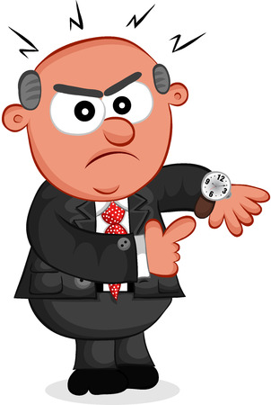 Cartoon angry boss man showing the time. Vector