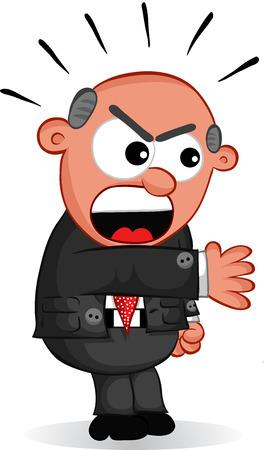 Cartoon angry boss man shouting. Vector