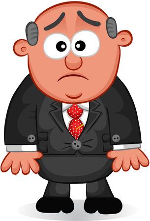 Cartoon boss man unhappy. Vector