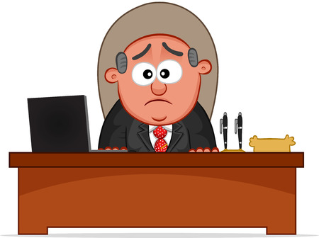 Cartoon boss man unhappy. Stock Vector - 22561118