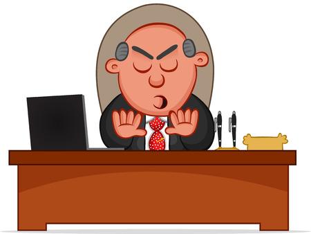 Cartoon boss man rejecting. Stock Vector - 22561142