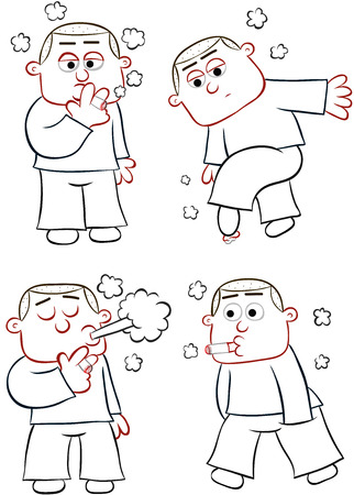 Cartoon Smoking Man Set. Four cartoons. Stock Vector - 22561152