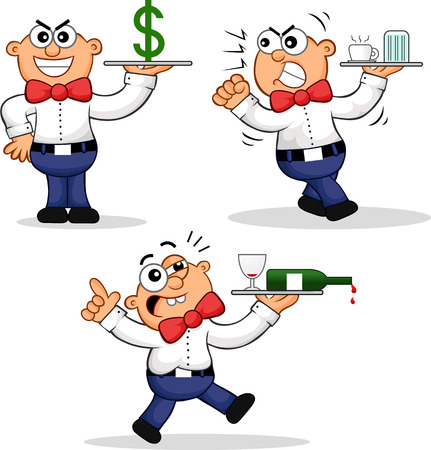 Cartoon Waiter Set. -Expensive, -Angry, -Drunk Vector
