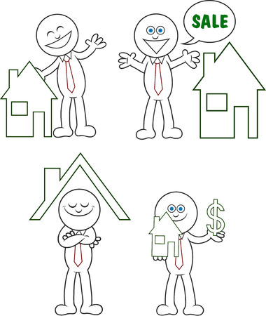 Cartoon real estate man set. Stock Vector - 22561182