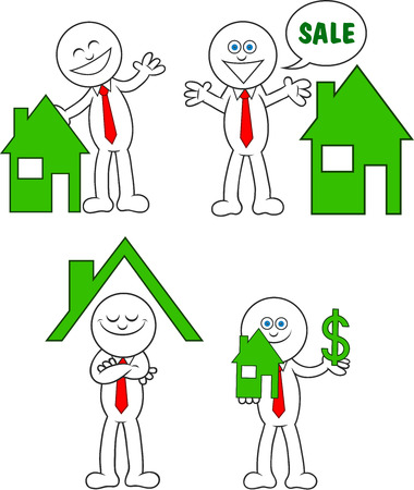 Cartoon real estate man set. Stock Vector - 22561184