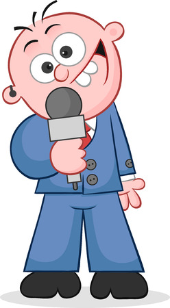 Cartoon reporter happy and holding microphone Vector