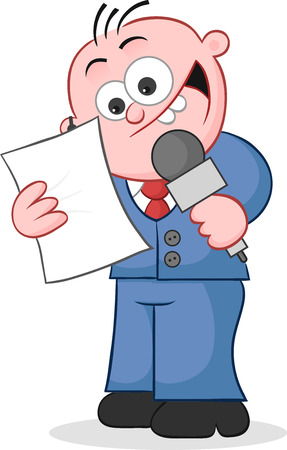 Cartoon happy reporter holding microphone and reading script. Vector