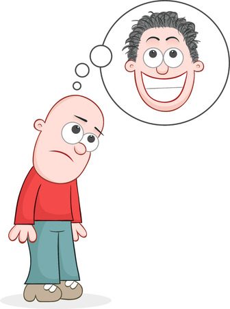 Cartoon bald man sad and dreaming of growing hair. Vector