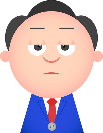 Vector cartoon funny businessman bored. Vector