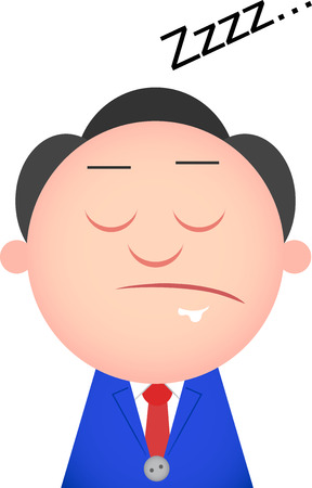 Vector cartoon funny businessman tired and sleeping. Vector