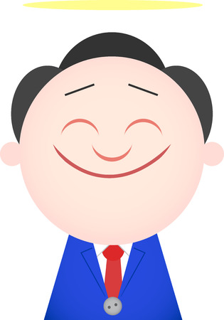 Vector cartoon funny angel businessman happy and smiling. Vector