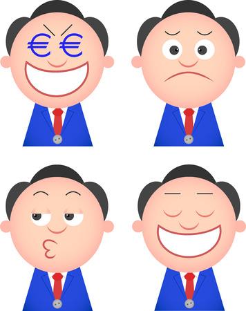 Vector cartoon funny businessman set. Four characters. Vector