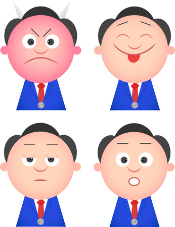 Vector cartoon funny businessman set. Four characters. Vector