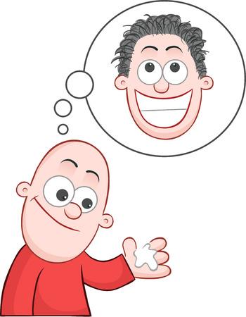 Cartoon bald man hopeful hair grower will give him a hairy head. Stock Vector - 23235036