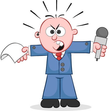 Cartoon angry reporter holding paper and microphone and shouting. Vector
