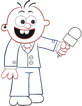 Cartoon reporter happy and holding microphone. Vector
