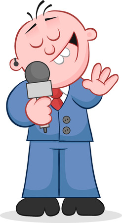 Cartoon happy reporter holding microphone and talking. Vector
