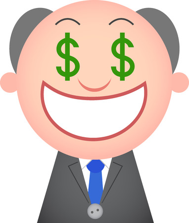 Vector cartoon funny boss greedy with money eyes. Vector