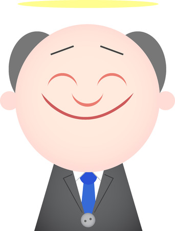 Vector cartoon funny angel boss happy and smiling. Vector