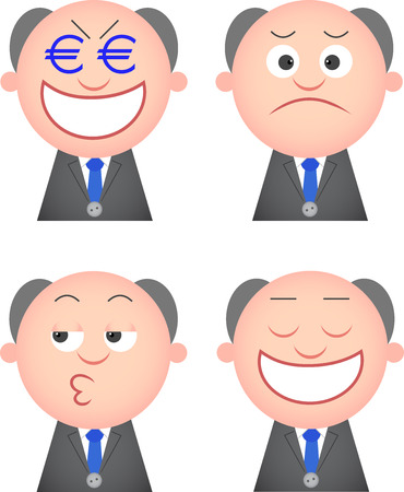 Vector cartoon funny boss set. Four characters. Vector
