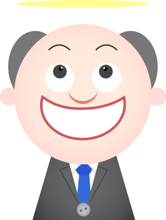 Vector cartoon funny angel boss happy and smiling  Vector