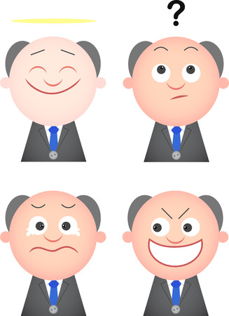 Vector cartoon funny boss set  Four characters  Vector