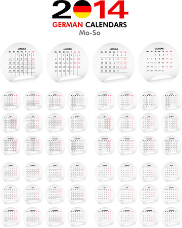 4 German calendar templates for 2014. Deutsch Kalender. Stock Vector - 23993051