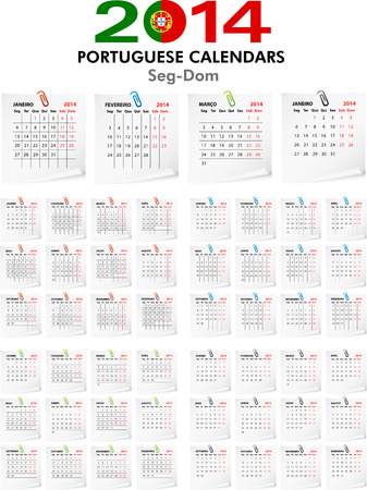 4 Portuguese calendar templates for 2014. Portuguese calendario. Stock Vector - 23993062