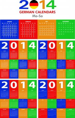 4 German calendar templates for 2014. Deutsch Kalender. Stock Vector - 23993115