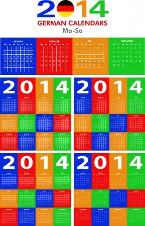 4 German calendar templates for 2014. Deutsch Kalender. Stock Vector - 23993115