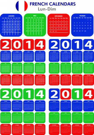 4 French calendar templates for 2014. Calendrier Français. Vector