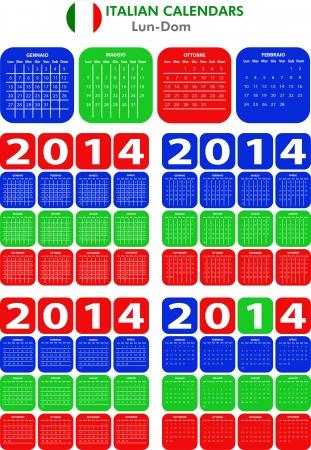 4 modelli di calendario italiano per il 2014. Italiano calendario. Vettoriali