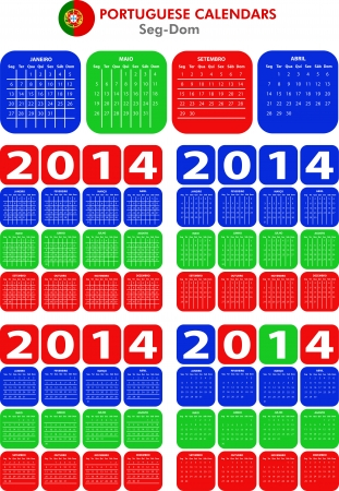 4 modelli di calendario portoghesi per il 2014. Calendario portoghese.