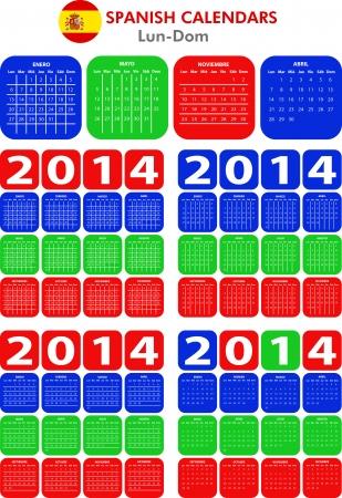 4 modelli di calendario spagnolo per il 2014. Espa�ol calendario. Vettoriali